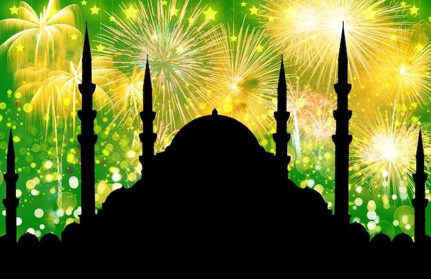 Sylwetka meczetu z kolorowym abstrakcyjnym tłem