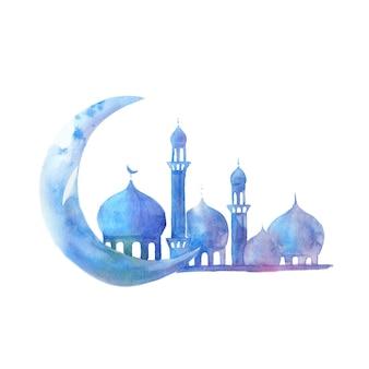 Sylwetka meczetu z minaretami i księżyc na akwareli. ilustracja na święta muzułmańskie.