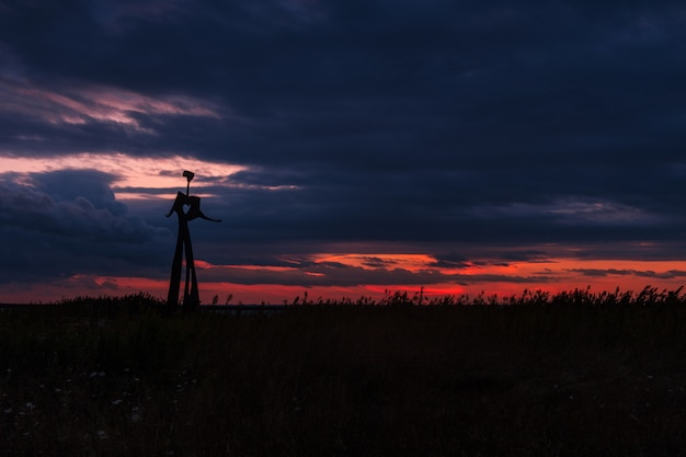 Sylwetka metalowego posągu na trawiastym polu pod zapierającym dech w piersiach pochmurnym niebem podczas zachodu słońca