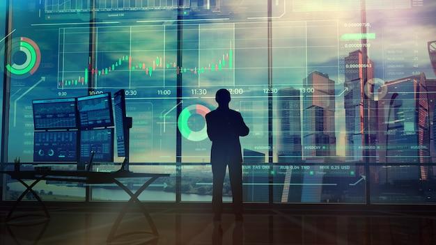 Sylwetka przedsiębiorcy w biurze przed infografiki