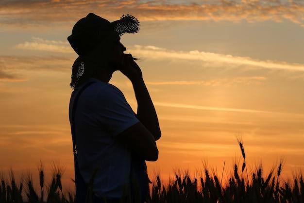 Sylwetka rolnika w polu pszenicy o zachodzie słońca