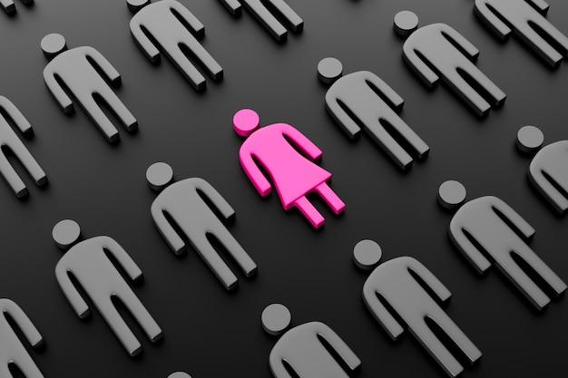 Sylwetka różowej kobiety otoczonej mężczyznami na ciemnym tle.