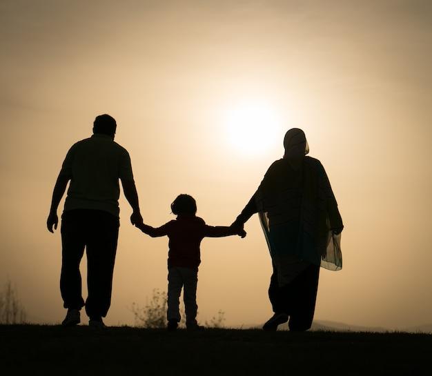 Sylwetka szczęśliwa rodzina trzyma each inny ręki