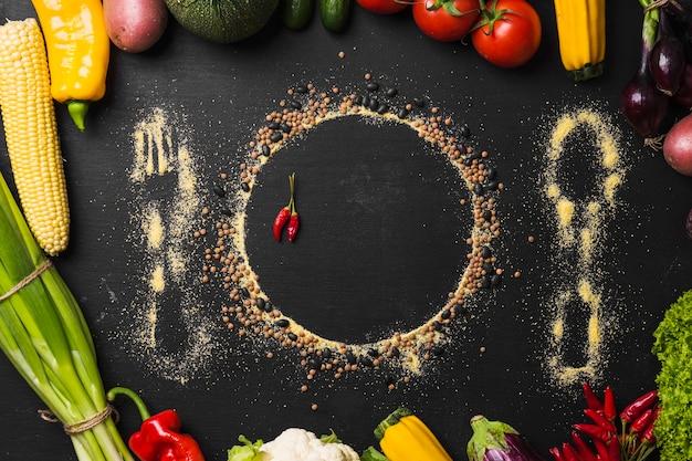 Sylwetka zastawy stołowej i warzyw