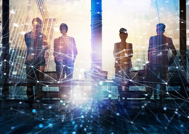 Sylwetki człowieka biznesu przed oknem w kontekście pracy