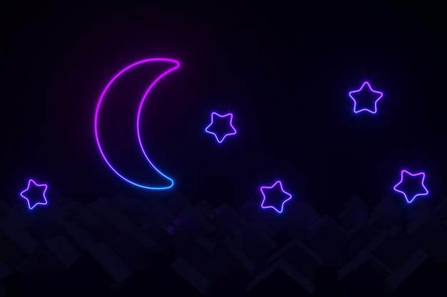 Sylwetki małych domków ze spadzistymi dachami oświetlonymi neonowym księżycem i gwiazdami