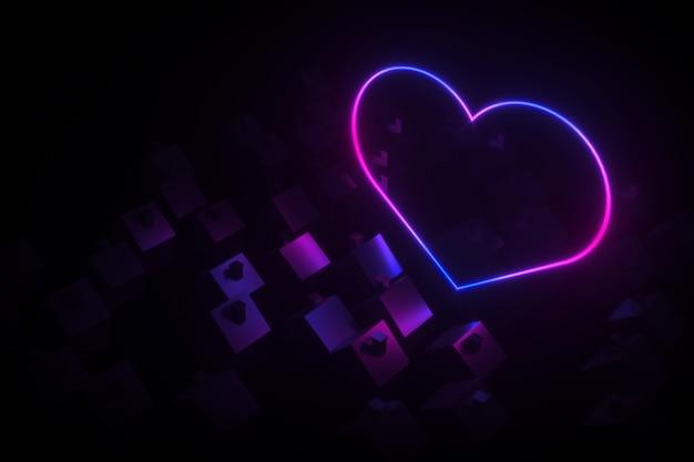 Sylwetki małych wiejskich domów z dwuspadowymi dachami oświetlały sylwetkę neonowego serca