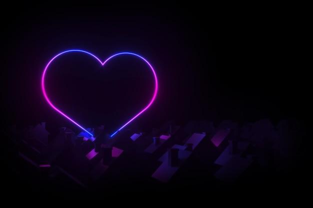 Sylwetki małych wiejskich domów z dwuspadowymi dachami oświetlona sylwetka neonowe serce 3d ilustracja