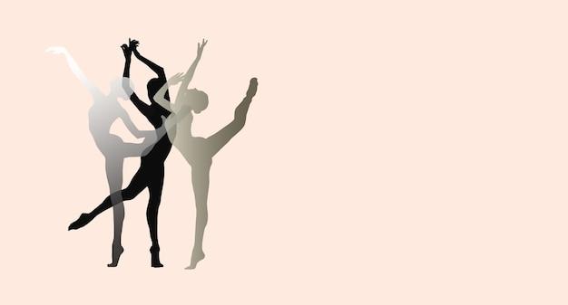 Sylwetki młodych wdzięcznych tancerzy baletowych na różowym tle