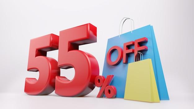 Symbol 55% z torbą na zakupy