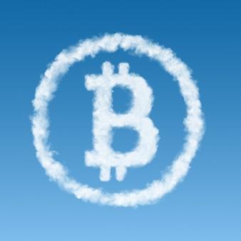 Symbol bitcoin wykonany z białej chmury na niebieskim tle, koncepcja wirtualnego pieniądza.