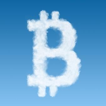 Symbol bitcoin wykonany z chmury, nowa koncepcja wirtualnych pieniędzy.