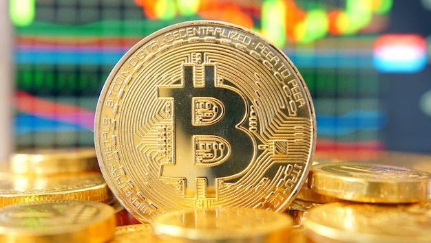 Symbol bitcoin. wykres finansowy.