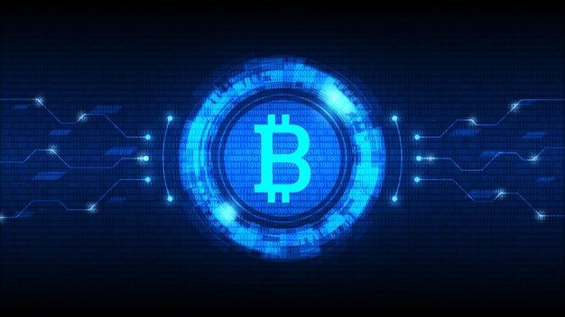 Symbol bitcoin z futurystycznym interfejsem hud, cyfrowa waluta