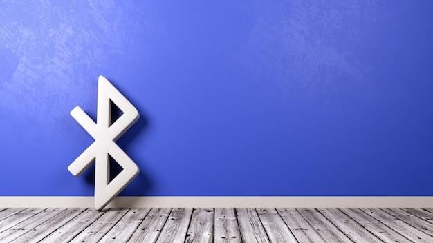 Symbol bluetooth na drewnianej podłodze przy ścianie