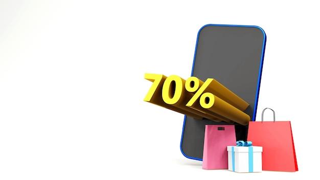 Symbol ceny promocyjnej z torbą na zakupy i smartfonem trzy d renderują pojedyncze tło