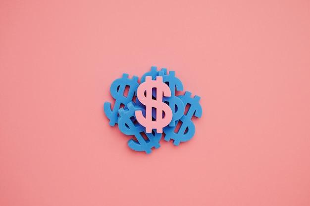 Symbol dolara amerykańskiego na różowym tle, niebieskie pieniądze minimalne flatlay