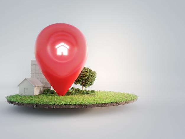 Symbol domu z ikoną pinezki lokalizacji na ziemi i zielonej trawie