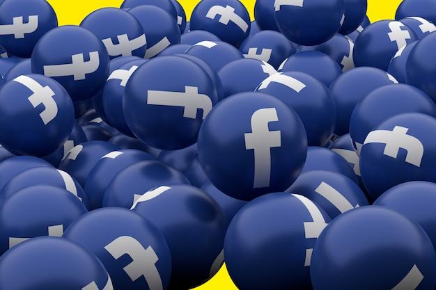 Symbol emoji na facebooku renderowania 3d, symbol balon mediów społecznościowych