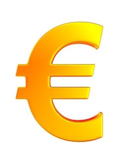 Symbol euro na białym tle. ilustracja na białym tle 3d