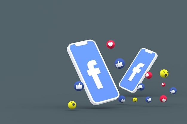 Symbol facebooka na ekranie smartfona lub telefonu komórkowego i reakcji na facebooku miłość, wow, jak emoji 3d render
