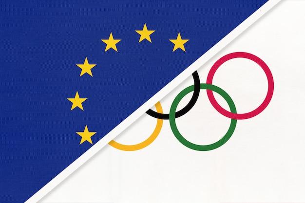 Symbol flagi unii europejskiej lub ue vs igrzyska olimpijskie z tekstyliów.