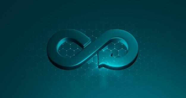 Symbol gospodarki o obiegu zamkniętym lub recykling znak nieskończoności zrównoważonego rozwoju na tle cyklu biznesowego recyklingu z zielonymi zasobami koncepcja ochrony środowiska. renderowanie 3d.