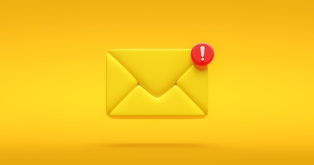 Symbol ikony żółty powiadomienie wiadomości lub nowy czat społecznej komunikacji internetowej kontakt znak i ilustracja bańka informacji na tle płaska konstrukcja z prostym elementem mediów. renderowanie 3d.