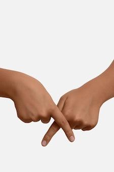Symbol języka migowego na białym tle