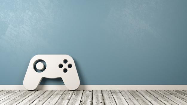 Symbol kontrolera gamepad na drewnianej podłodze przy ścianie
