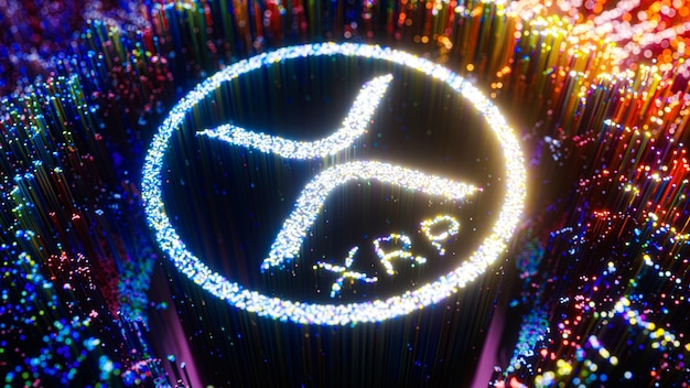 Symbol logo sztuki cyfrowej xrp. ripple kryptowaluta futurystyczny ilustracja 3d.