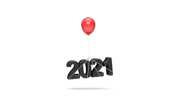 Symbol nowego roku 2021 wiszące na balon na białym tle