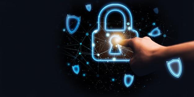 Symbol ochrony tarczy kłódki ilustracja systemu online
