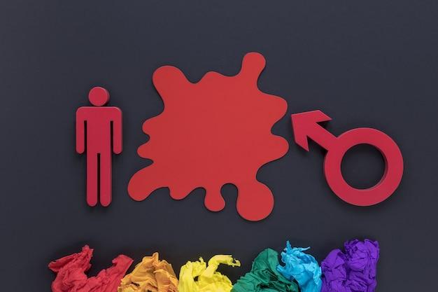 Symbol płci i papier motolitowy