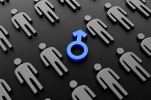 Symbol płci męskiej otoczony męskimi postaciami na ciemnym tle.