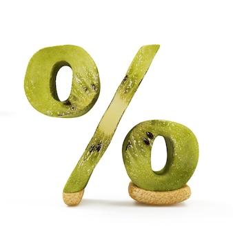 Symbol procentu wykonany z kiwi na białym tle