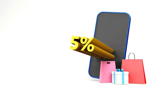 Symbol promocji sprzedaży z torbą na zakupy i smartfonem trzy renderowania na białym tle