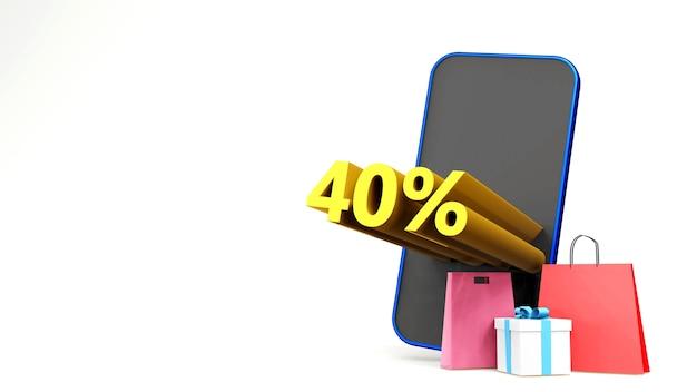 Symbol promocji sprzedaży z torbą na zakupy i smartfonem trzy wymiary renderują pojedyncze tło