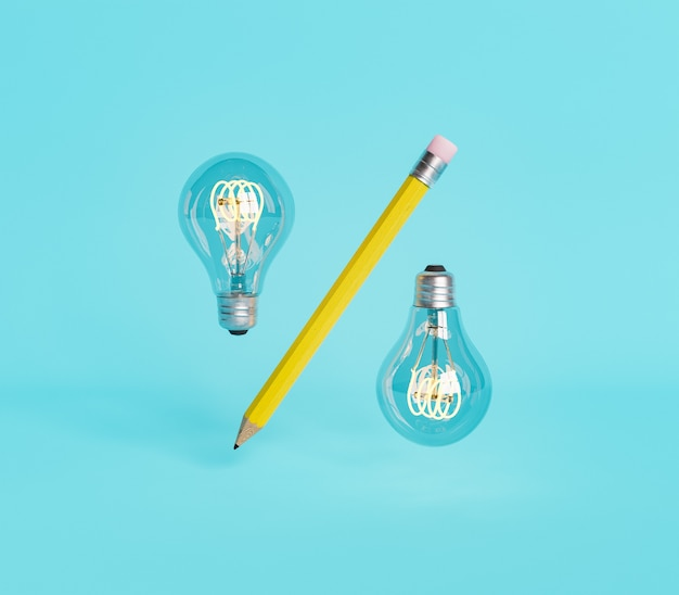 Symbol rabatu z ołówkiem i dwiema żarówkami