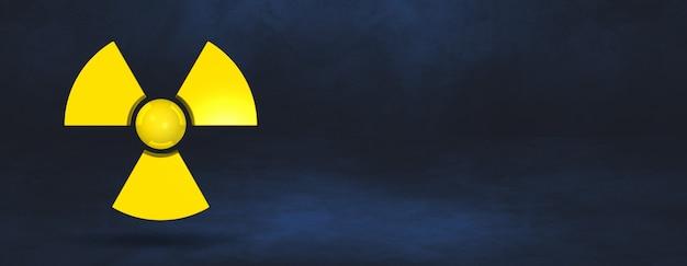 Symbol radioaktywny na białym tle na ciemnoniebieskim tle. ilustracja 3d