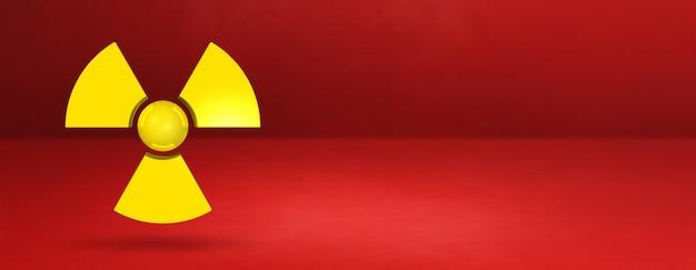 Symbol radioaktywny na białym tle na czerwonym sztandarem. ilustracja 3d