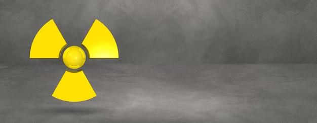 Symbol radioaktywnych na białym tle na banner tło konkretnego studia.