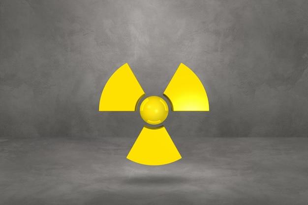 Symbol radioaktywnych na białym tle na betonowym studio