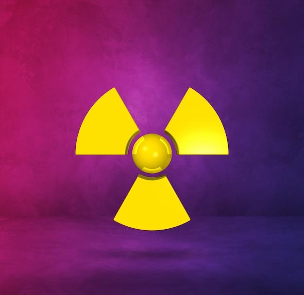 Symbol radioaktywnych na białym tle na fioletowym tle studio.