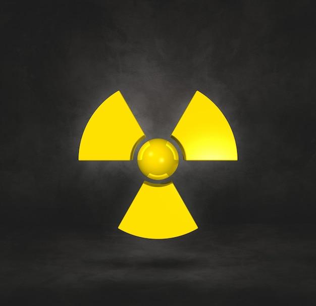 Symbol radioaktywnych na białym tle na tle czarnego studia. ilustracja 3d
