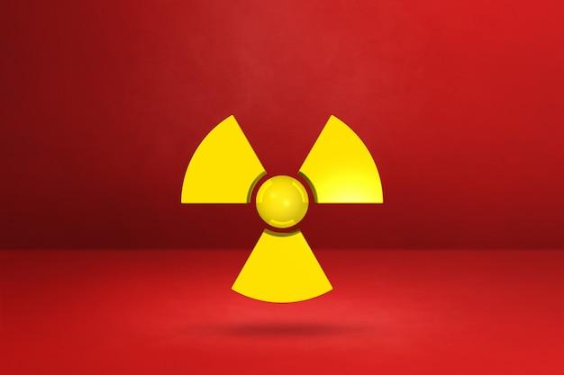 Symbol radioaktywnych na białym tle na tle czerwonym studio.