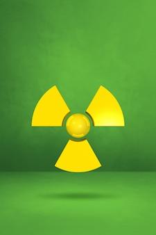Symbol radioaktywnych na białym tle na tle zielonym studio.
