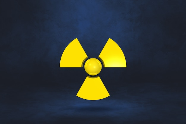 Symbol radioaktywnych na ciemnoniebieskim tle. ilustracja 3d