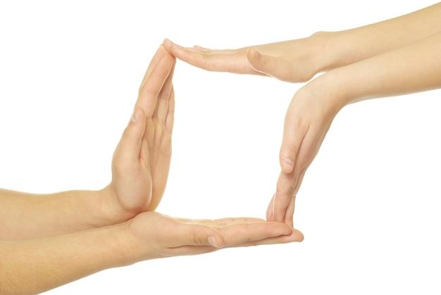 Symbol recyklingu z rąk na białym tle
