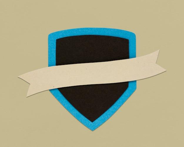 Symbol szyldu ochrony wstążki tarczy